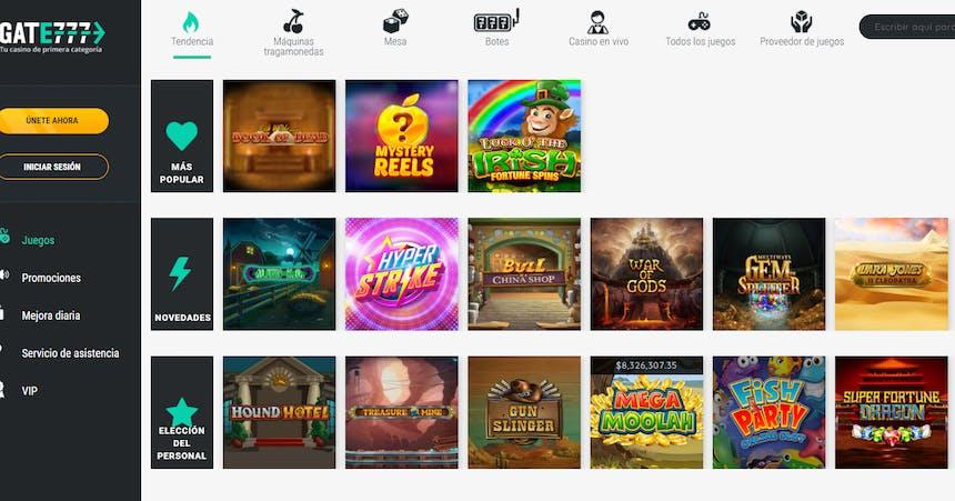 Juegos de casino de Gate777