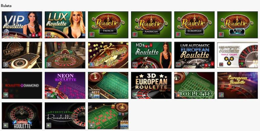 La sección de Ruleta en Rivalo casino