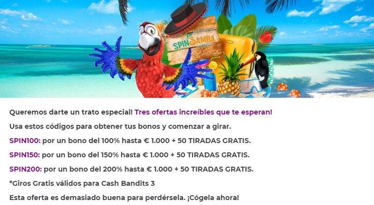 Bono bienvenida de Spin Samba