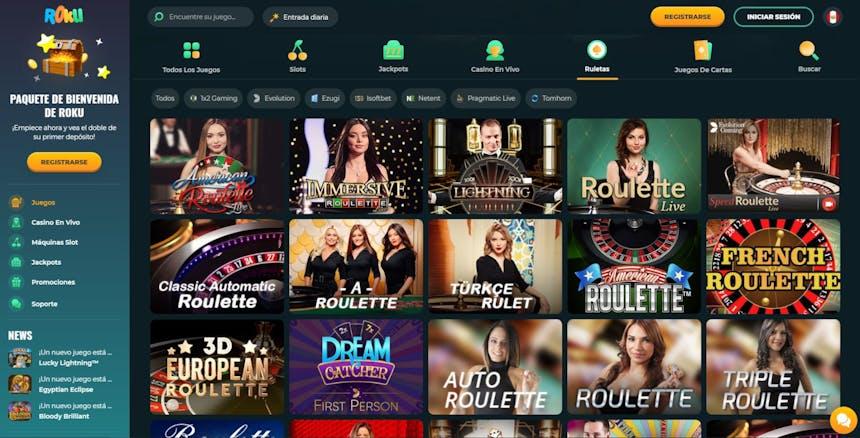 La sección de Ruleta en Roku Casino
